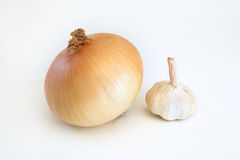 Fresh organic onion and garlic Stock Photos