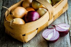 Fresh organic onions in a basket Royalty Free Stock Photos