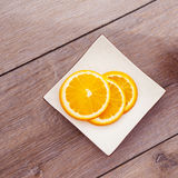Fresh organic oranges fruits on wooden table. Stock Image
