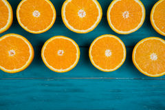 Fresh organic oranges on wooden background Stock Photo