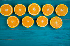 Fresh organic oranges on wooden background Royalty Free Stock Image