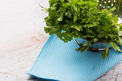 Fresh organic parsley in bowl Stock Photos