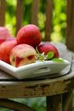Organic peach fruit stock images