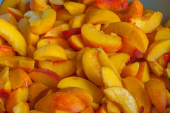 Fresh Organic Peaches  Heap Of ripe peach slices Royalty Free Stock Photos