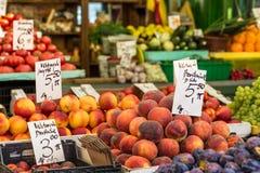 Fresh Organic Peaches at local market in Poland. Stock Photos