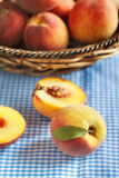 Fresh organic peaches Royalty Free Stock Photos