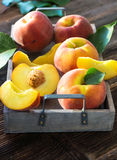 Fresh organic peaches Stock Images