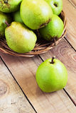 Fresh organic pears on old wood. Pear autumn harvest Royalty Free Stock Images