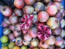 Fresh organic Pomegranate Fruits on street market stall Royalty Free Stock Images