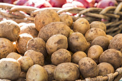 Fresh organic potatoes from farmer's market. Fresh organic potatoes at a farmer's market, showing other vegetables in the background Stock Photo
