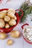 Fresh organic potatoes, rosemary and garlic over white wooden ba. Fresh organic potatoes in a red collander, rosemary and garlic over white wooden background royalty free stock image