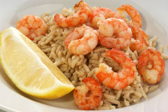 Fresh organic prawns with natural rice. Some fresh organic prawns with natural rice Royalty Free Stock Images
