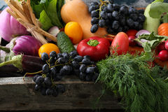 Fresh Organic Produce In Wood Crate Royalty Free Stock Image