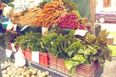Fresh organic produce at the local farmers market. Farmers ` markets are a traditional way of selling agricultural products. The horizontal frame Royalty Free Stock Images