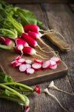 Fresh organic radish on cutting board Stock Photo