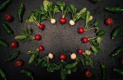 Fresh radish frame on black background. Fresh organic radish frame with vegetables on black background Royalty Free Stock Photography