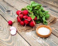 Fresh organic radish. On a old wooden background Stock Photo