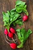Fresh organic radish on wooden table, top view Stock Photography