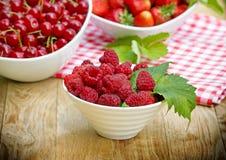 Fresh organic raspberries Royalty Free Stock Image