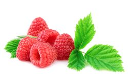 Fresh Organic Raspberry With Green Leaf on White. Fresh Organic Raspberry With Green Leaf Isolated on White Royalty Free Stock Photos