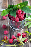 Fresh organic raspberry. Fresh   raspberry on  old wooden table Royalty Free Stock Photography
