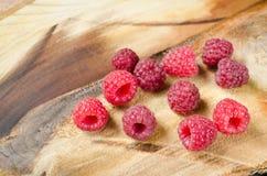 Fresh Organic Raspberry on Rustic Background. Stock Images