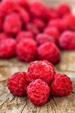 Fresh, organic raspberry on wood background Stock Image