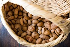 Fresh Organic Raw Almonds with Shell in Basket. Organic Food Stock Photos