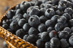 Fresh Organic Raw Blueberries. In a Basket Stock Image
