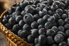 Fresh Organic Raw Blueberries. In a Basket Stock Photography