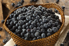 Fresh Organic Raw Blueberries. In a Basket Royalty Free Stock Photos