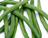 Fresh organic raw green beans. Isolated on white background Royalty Free Stock Photos