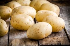 Fresh organic raw potatoes on the old table Stock Photos