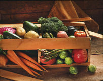 Fresh Organic Raw Vegetables In Wooden Crate Stock Image