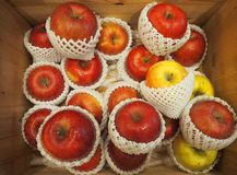 Fresh organic red apples on the farmers market. Close-up apple background. Healthy fruit-image stock photography