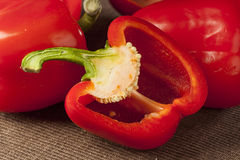 Fresh Organic Red Bell Pepper Stock Photo