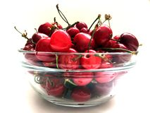 Fresh organic red cherries with stems Royalty Free Stock Photos