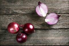 Fresh organic red onions Royalty Free Stock Photos