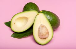 Fresh organic ripe green whole and sliced Fuerte avocado with le. Aves, copy space close up  on trendy pink background Stock Photos