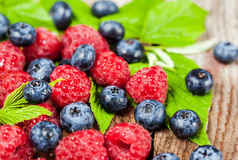Fresh organic ripe raspberry and blueberry Royalty Free Stock Photo