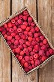 Fresh organic ripe raspberry in box Stock Photos