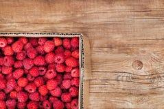 Fresh organic ripe raspberry in box Royalty Free Stock Images