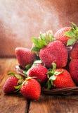 Fresh organic ripe strawberry with water splash Stock Photo