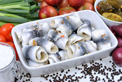 Fresh organic rollmops on a white plate. Some fresh organic rollmops on a white plate royalty free stock photos