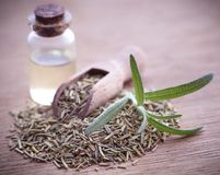 Fresh organic rosemary with essential oil. On natural surface Stock Photo