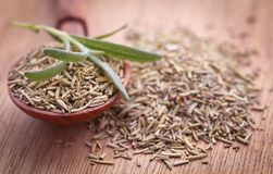 Fresh organic rosemary. On a wooden surface Stock Images