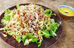 Fresh organic salad with cream sauce Royalty Free Stock Image