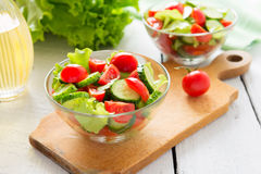 Fresh salad from cucumbers and tomatoes Stock Photos
