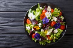 Fresh organic salad from edible flowers with lettuce, tomatoes a. Nd cream cheese close-up on the table. Horizontal top view from above royalty free stock photography