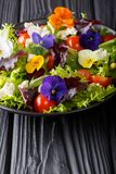 Fresh organic salad from edible flowers with lettuce, tomatoes a. Nd cream cheese close-up on the table. vertical royalty free stock photos